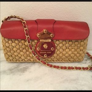 Michael KORS red leather wicker purse RARE!